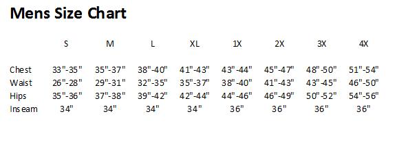 Exxtreme Athletics Mens Size Chart
