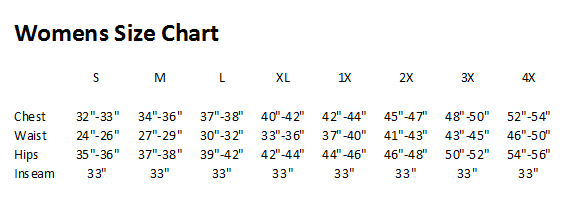 Exxtreme Athletics Womens Size Chart