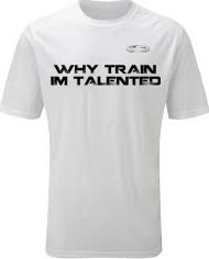 EXXTREME ATHLETICS WHY TRAIN IM TALENTED MENS WHITE T-SHIRT